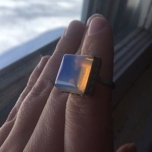 Jewelry - Metal cocktail ring with large blueish stone
